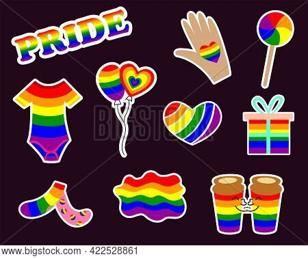 Lgbt Stickers With Gender Signs, Rainbow Colored Clothes, Food. Pride Month 2021 Concept. Gay Parade