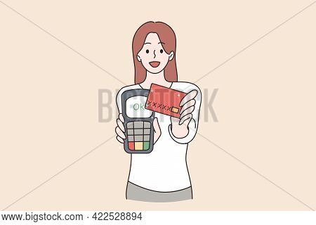Electronic Payment And Technologies Concept. Portrait Of Smiling Attractive Pretty Cheerful Girl Usi