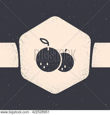 Grunge Tangerine Icon Isolated On Grey Background. Merry Christmas And Happy New Year. Monochrome Vi