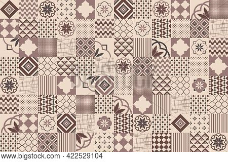 Ceramic Tile Design In Brown And Beige Colors. Vector Illustration. Seamless Pattern, Background, Sq