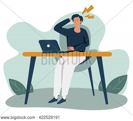 Eye Strain And Vision Fatigue From Reading And Screens Tiny Person Concept