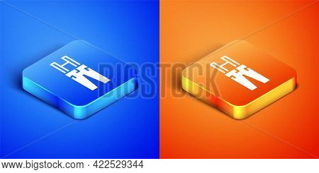 Isometric Pants With Suspenders Icon Isolated On Blue And Orange Background. Square Button. Vector