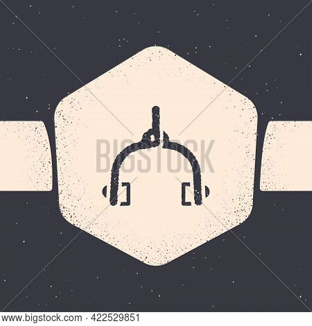 Grunge Bicycle Brake Calipers Dual Pivot Icon Isolated On Grey Background. Bicycle Brake Wire. Monoc