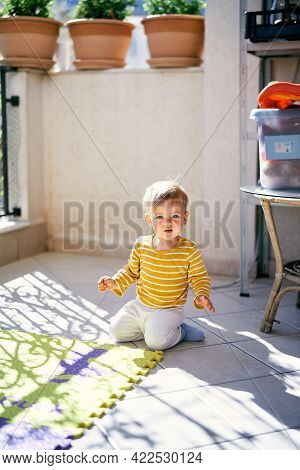 Kid Is Kneeling On The Balcony Near A Colored Rug Against The Background Of Green Flowerpots