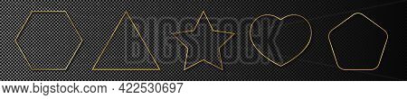 Set Of Five Gold Glowing Different Geometric Shape Frames Isolated On Dark Transparent Background. S