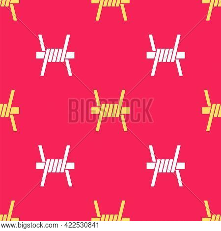 Yellow Barbed Wire Icon Isolated Seamless Pattern On Red Background. Vector