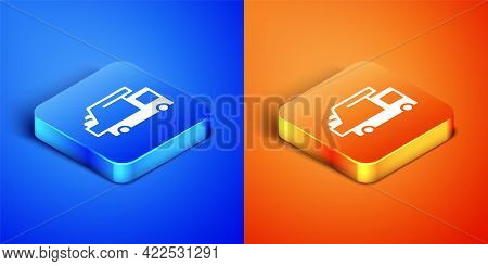 Isometric Garbage Truck Icon Isolated On Blue And Orange Background. Square Button. Vector
