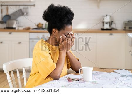 Freelance Stress. Tired African Business Woman Work Remotely From Home, Suffer From Headache, Stress