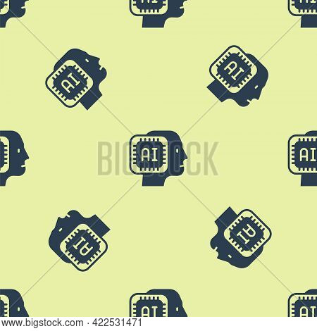 Blue Humanoid Robot Icon Isolated Seamless Pattern On Yellow Background. Artificial Intelligence, Ma