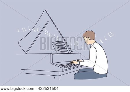 Professional Musician And Musical Education Concept. Young Smiling Man Pianist Cartoon Character Sit