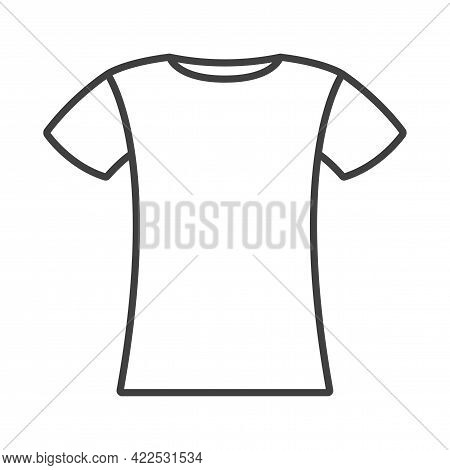 T-shirt Linear Icon. A Simple Line Drawing Of A Short Sleeved Shirt. Isolated Vector Image On A Clea