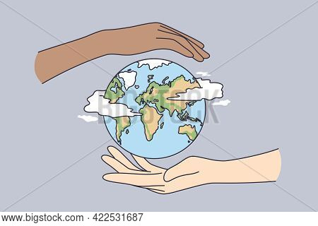 Environment Saving, Traveling, Protecting Earth Concept. Two Human Hands Holding Planet Earth Taking