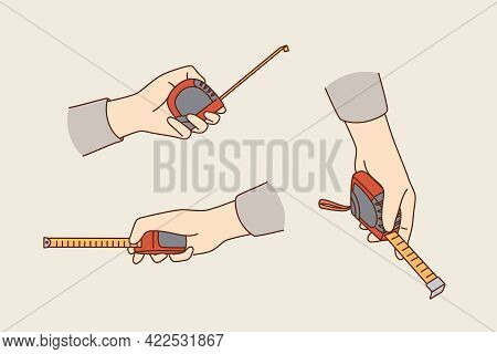 Measuring And Making Flat Improvement Concept. Caucasian Male Hands Holding Measuring Tape Ruler For