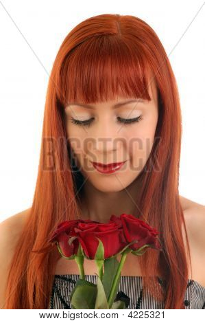 Beautiful Girl With Roses