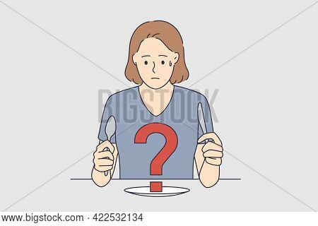 Feeling Doubt And Insecure Concept. Young Frustrated Woman Cartoon Character Sitting At Table With F