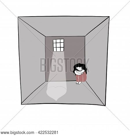 Girl Has No Hope In Prison, Freehand Vector Illustration