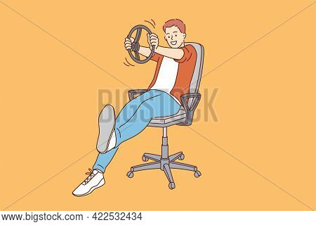Playing Driver And Imagination Concept. Young Smiling Boy Cartoon Character Sitting And Imagining Hi