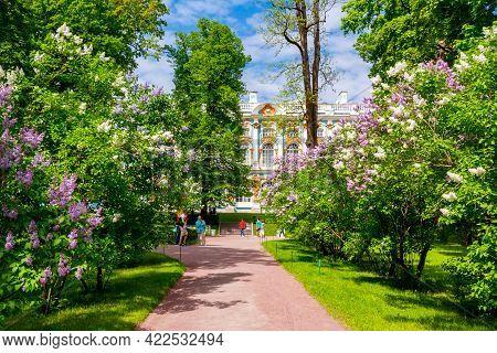 Saint Petersburg, Russia - June 2021: Catherine Palace And Park In Tsarskoe Selo (pushkin)