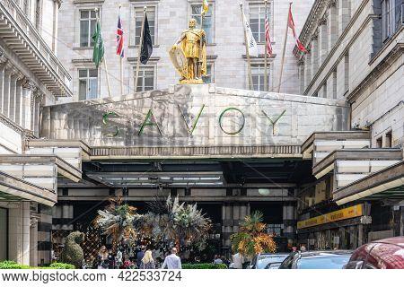 Main Entrance To Hotel Savoy, London. Uk, London, May 29, 2021