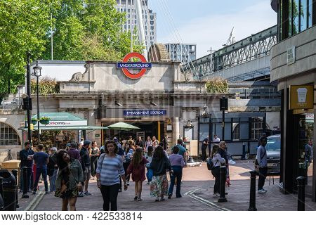 Embankment Is A London Underground Station In The City Of Westminster.uk, London, May 29, 2021