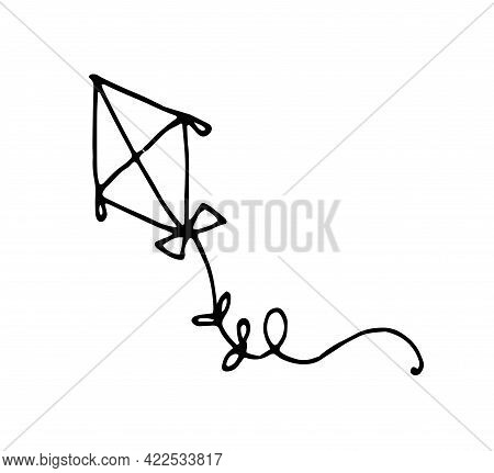 Drawing Of A Kite In An Abstract Style On A Black Background.vector Pattern Drawing Of A Kite In An