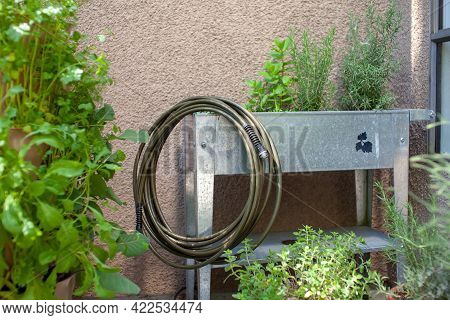 A Drinking Water Safe Garden Hose Sits On An Elevated Planter, Made From 100% Lead-free, Food-grade