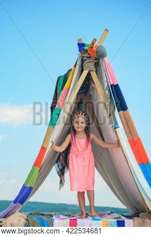 Girl Playing In Tent. Kids Camping. Having Fun Outdoors. Campground. Funny Kid In Tent. Boho Kids St
