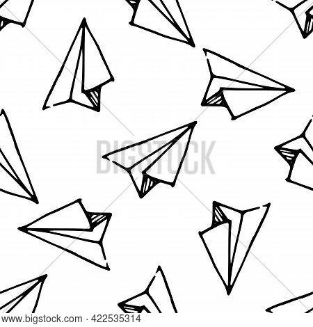Doodle Doodle Paper Airplane Pattern For Concept Design. Air Flight Journey Concept. Vector Seamless