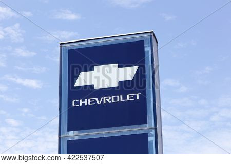 Villefranche, France - June 11, 2017: Chevrolet Logo On A Signboard. Chevrolet Is An American Automo