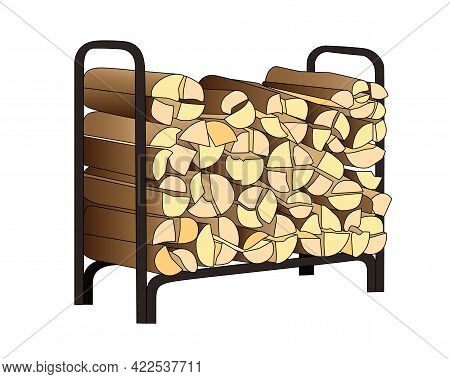 Woodpile With Firewood Vector Full Color Illustration. Firewood Stand Filled With Chopped Logs For F