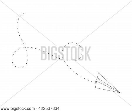 Outline Paper Plane With Line Of Path. Popular Symbol Of Delivery, Communication, Travel, Imaginatio