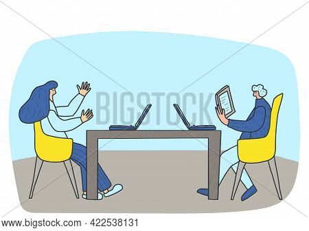 Young Persons Sitting In The Chair And Using Their Gadgets. Attractive Man And Woman Working With La