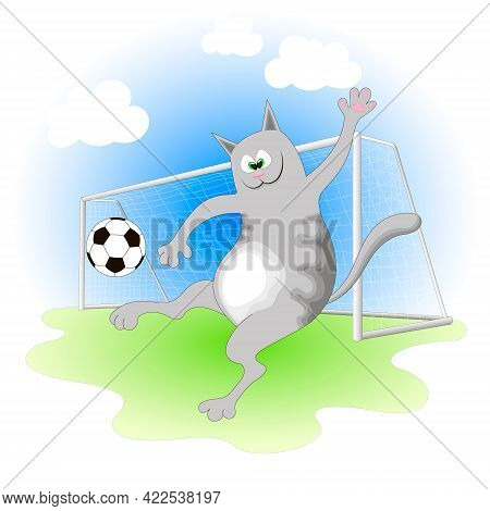 Cheerful Gray Cat Playing Football On A Green Soccer Field