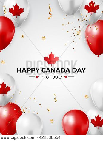 Happy Canada Day Background Greeting Card. Vector Illustration
