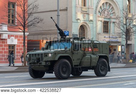 April 30, 2021 Moscow, Russia. Typhoon-air Defense Armored Vehicle On Tverskaya Street In Moscow.