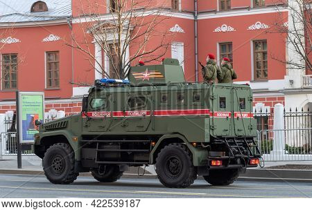 April 30, 2021 Moscow, Russia. Armored Car Patrol Of The Russian Military Police On Tverskaya Street
