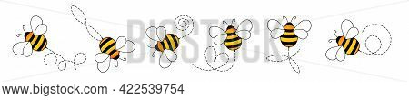 Set Of Cartoon Bee Mascot. A Small Bees Flying On A Dotted Route. Wasp Collection. Vector Characters