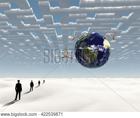 Man in heavenly landscape. 3D rendering