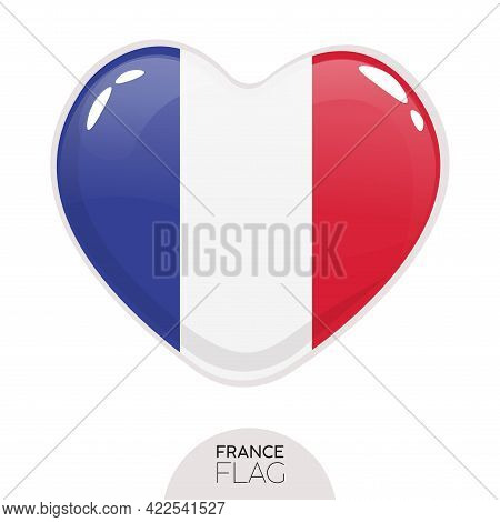 Isolated Flag France In Heart Symbol Vector Illustration