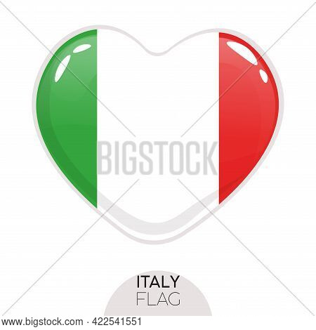 Isolated Flag Italy In Heart Symbol Vector Illustration