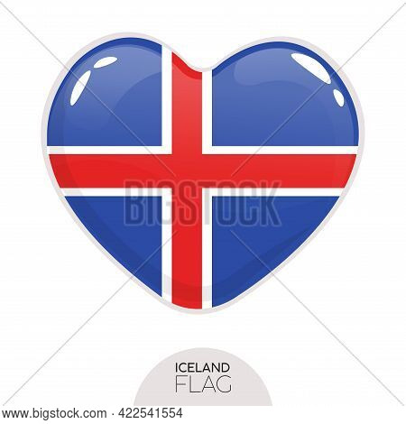 Isolated Flag Iceland In Heart Symbol Vector Illustration