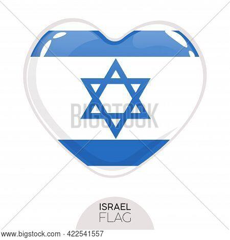 Isolated Flag Israel In Heart Symbol Vector Illustration