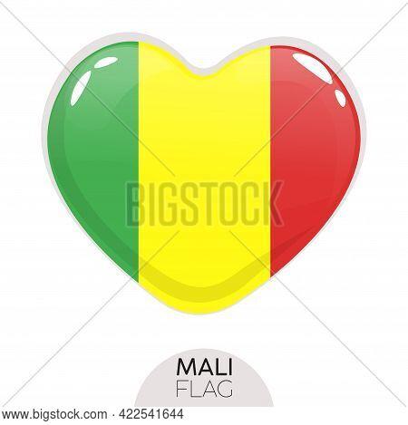 Isolated Flag Mali In Heart Symbol Vector Illustration