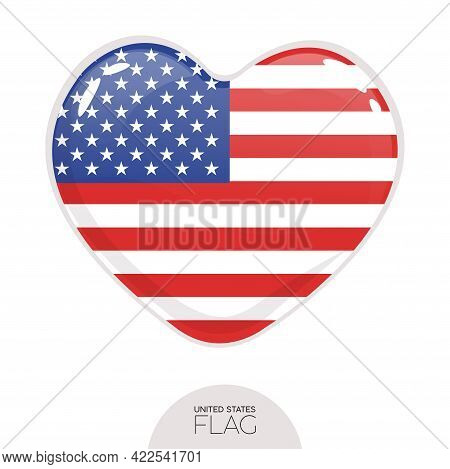 Isolated Flag Usa In Heart Symbol Vector Illustration