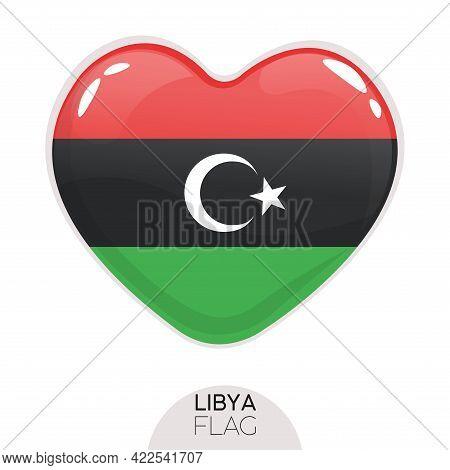 Isolated Flag Libya In Heart Symbol Vector Illustration
