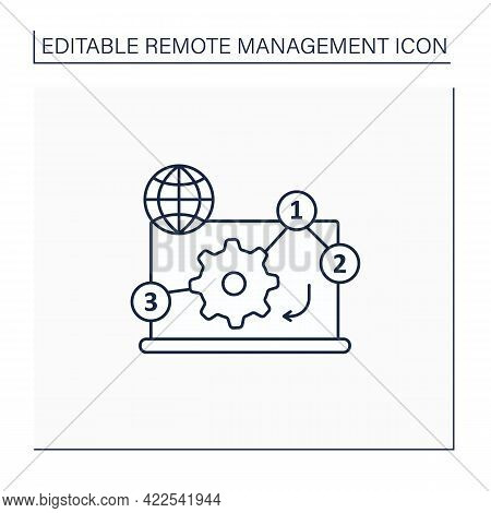 Manage Priorities Line Icon. Online Working. Priority Execution Works. Important Tasks. Task Distrib