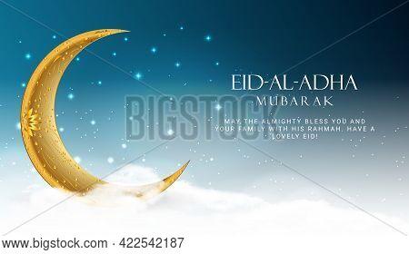 Eid Al Adha. Eid Mubarak Islamic Greeting Card , Poster. Vector Illustration