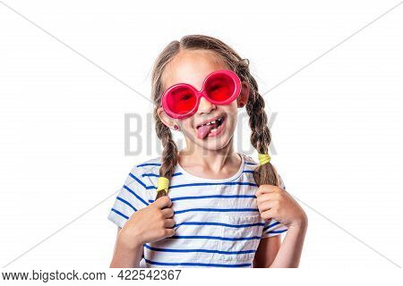 Cute European Smiling Little Girl With Pigtails And Pink Glasses Isolated On White Background