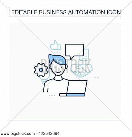 Open Collaboration Line Icon. Open Minded Person. Interaction Participants, Create Products. Busines