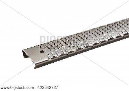 Stainless Steel Small Fine Grater Isolated On White Background. Grater For Grating Cheese, Nutmeg, G